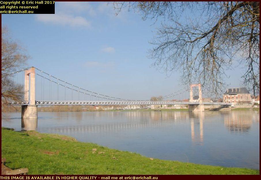 suspension bridge river loire cosne cours sur loire nievre france
