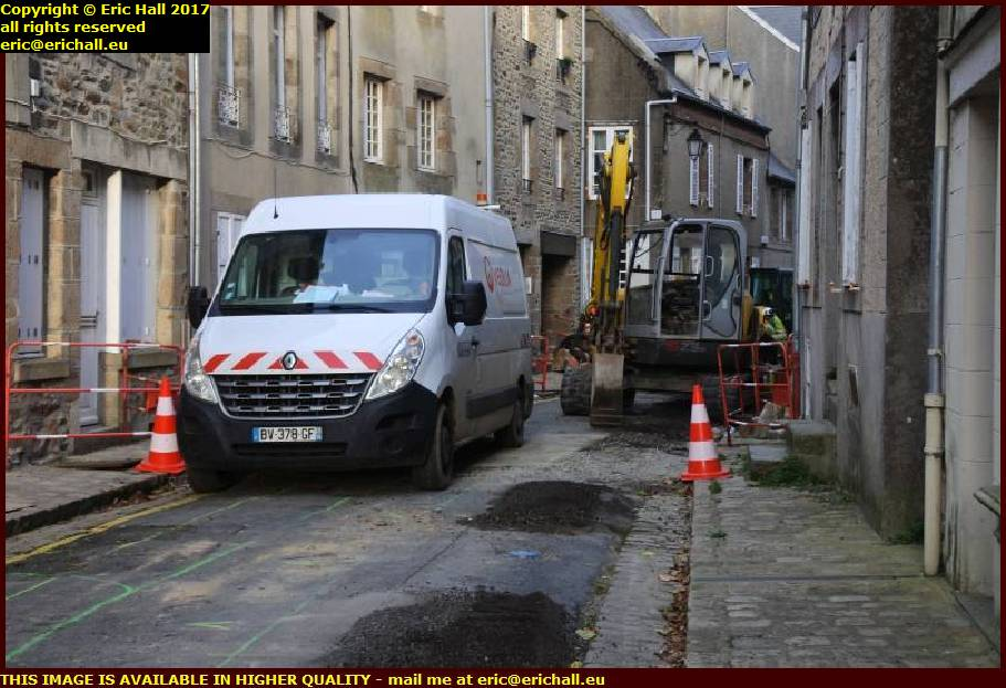 replacing water mains haute ville granville manche normandy france
