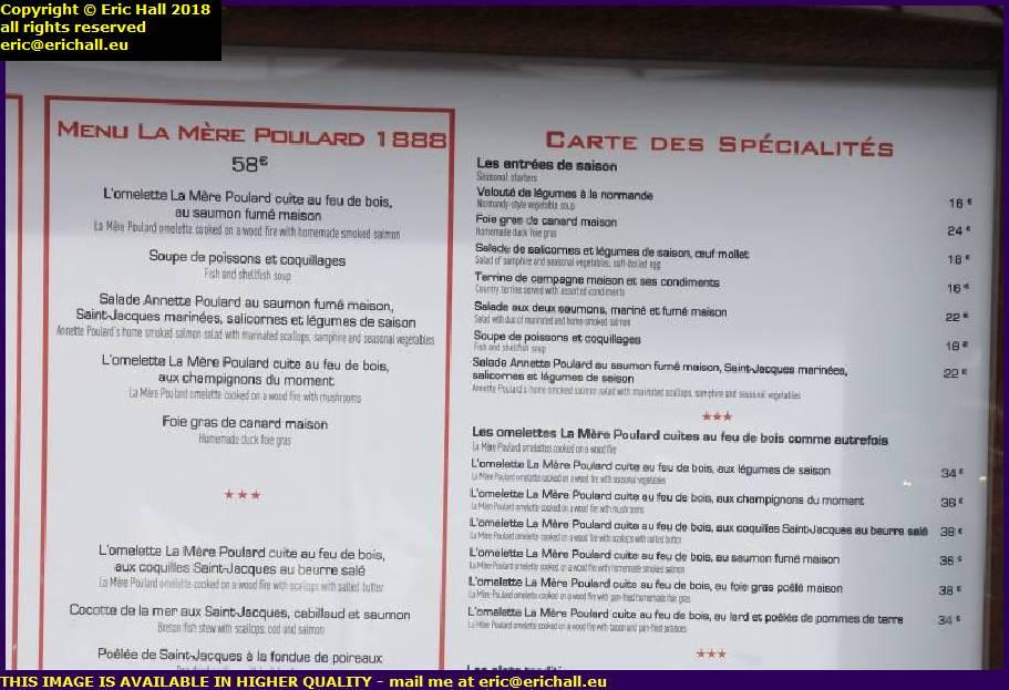 restaurant prices la mere poulard mont st michel manche normandy france