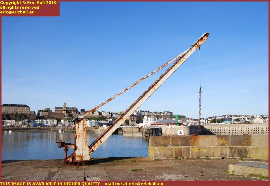 old crane port de granville harbour manche normandy france