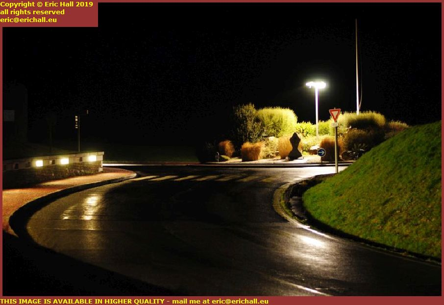 night roundabout rue du cap lihou granville manche normandy france