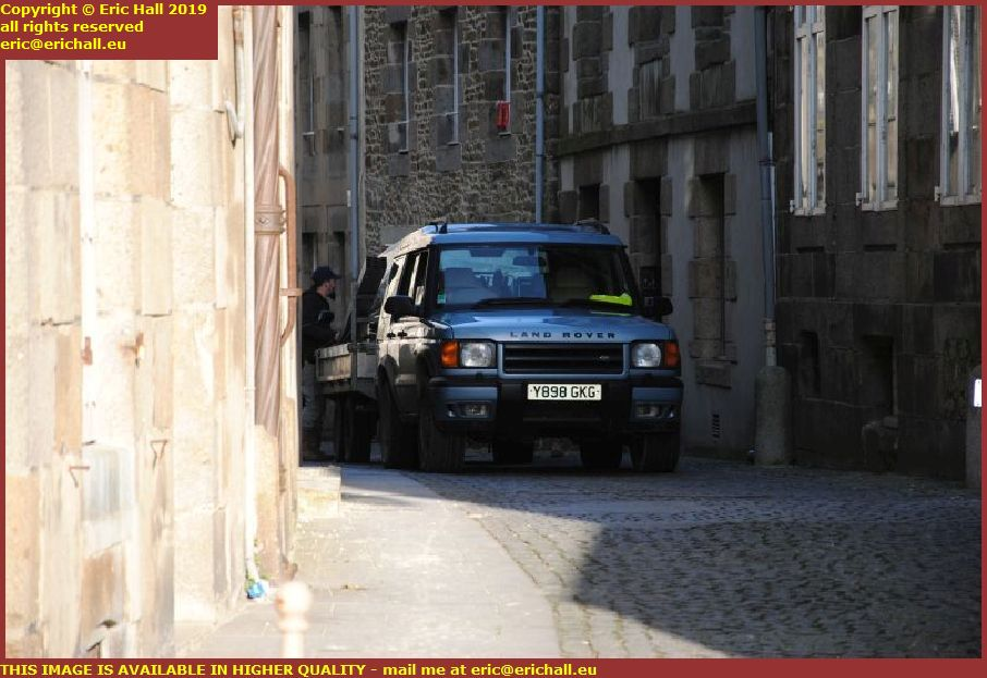 british range rover discovery unloading furniture rue st jean granville manche normandy france