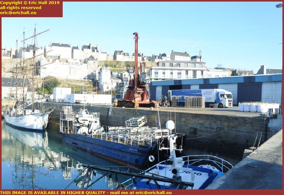 marité normandy trader loading up port de granville harbour manche normandy france