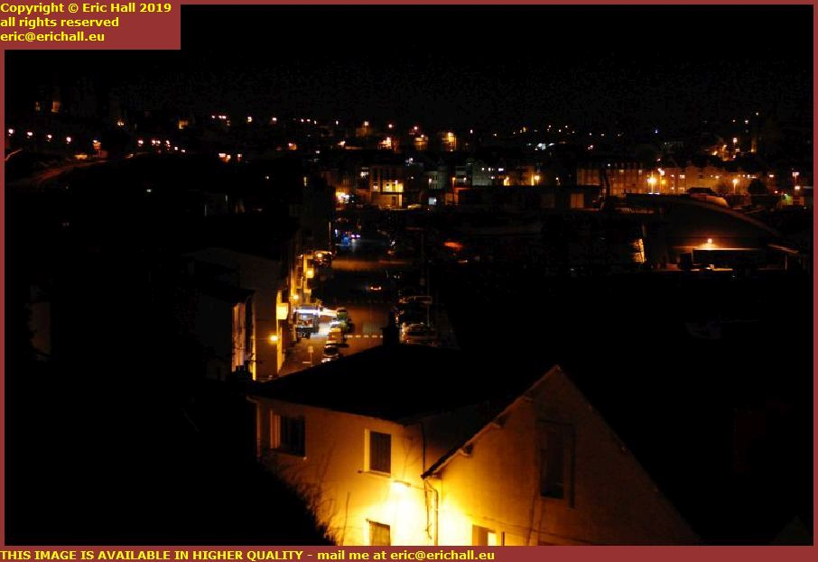 night rue du port de granville harbour manche normandy france
