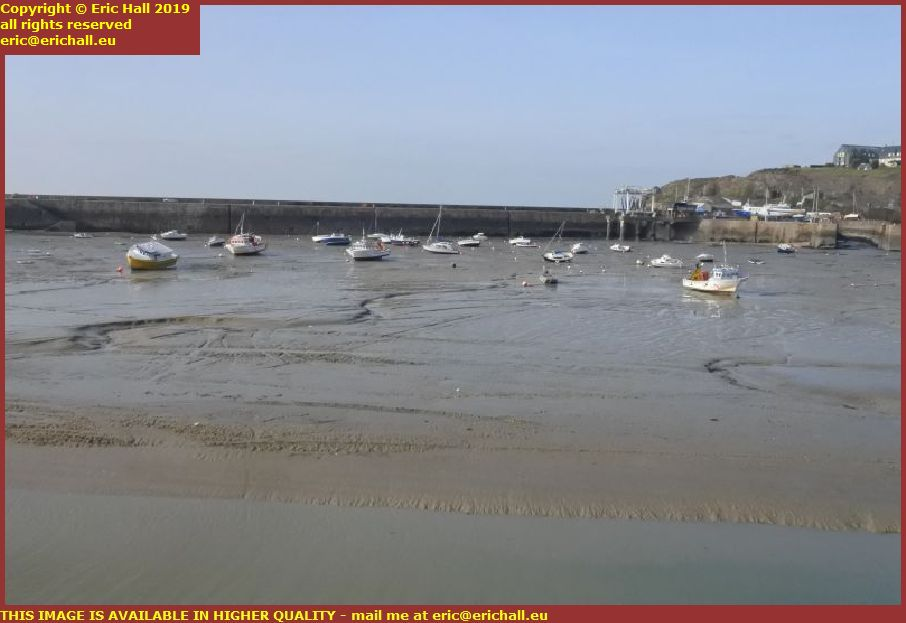 tide out boats aground port de granville harbour manche normandy france