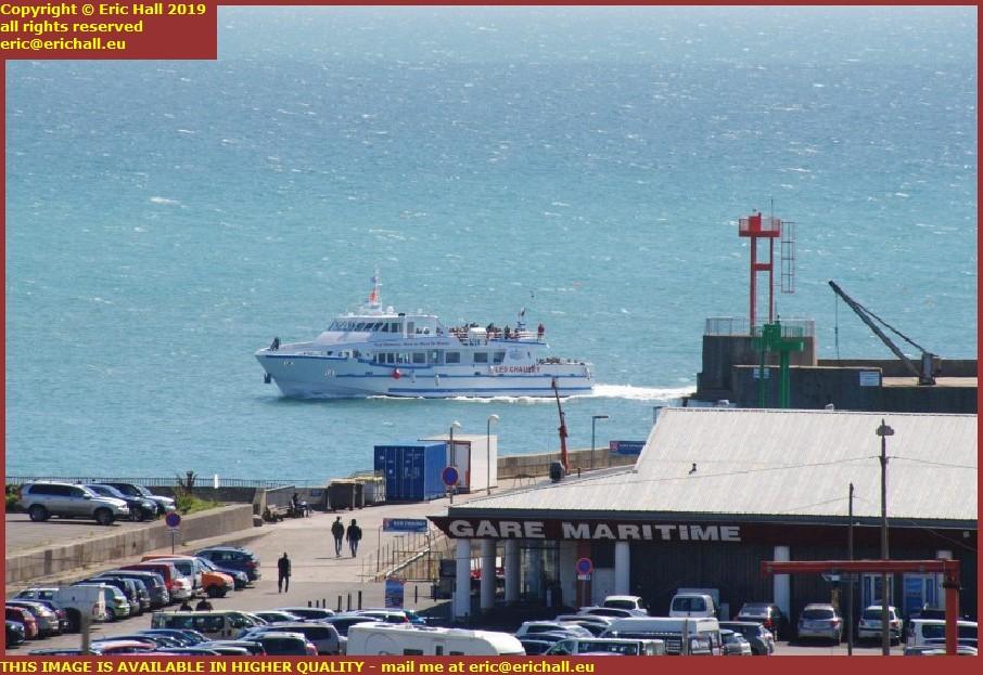 ferry ile de chausey coming into port de granville harbour manche normandy france