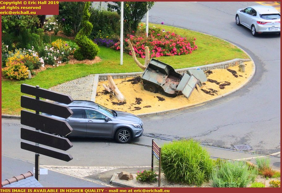 jeep remains on roundabout place godal granville manche normandy france
