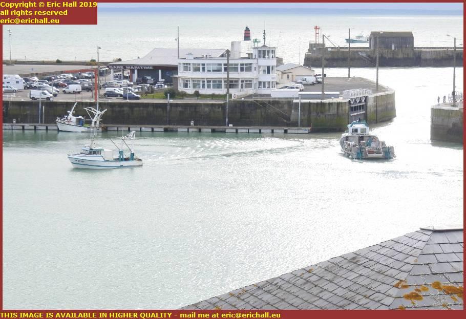 la grande ancre leaving fishing boat entering port de granville harbour manche normandy france