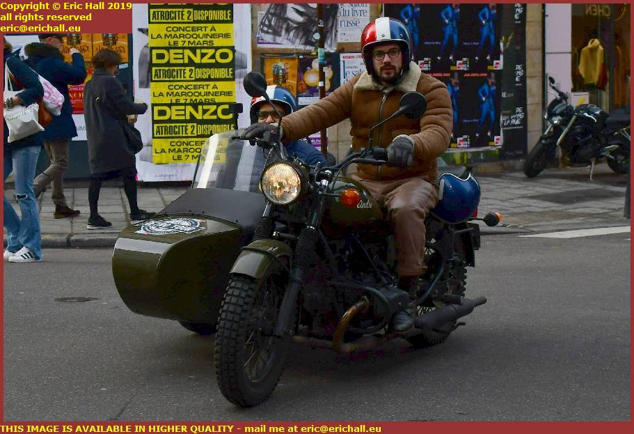 motor bike sidecar rue de buci paris france